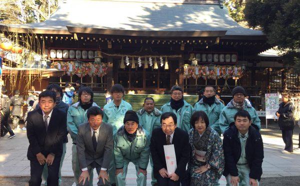 1月5日安全祈願。八幡神社前